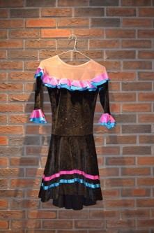 For Rent Item 002. Black dress, sparkly, blue and pink accents; good for musical theatre or character ballet. Size: Intermediate/Senior