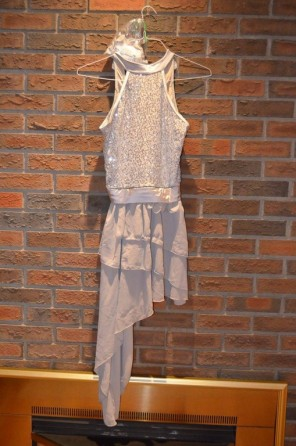 For Rent Item 004. Silver dress, top is sparkly and bottom has ruffles. Contemporary/Lyrical; Size: Senior