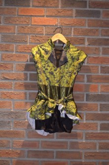 For Rent Item 006. Green and black jazz costume with built-in shorts. Size: Intermediate
