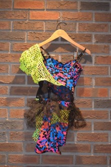 7. Multicoloured Jazz costume with mesh and tulle embellishments. Size: Intermediate