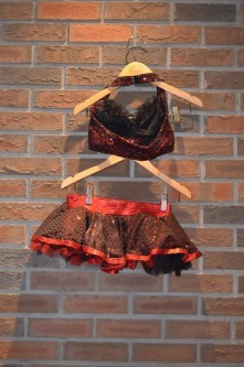 For Rent Item 009. Black and red half top with short skirt. Jazz/Tap; size: junior/intermediate. Three of this costume.