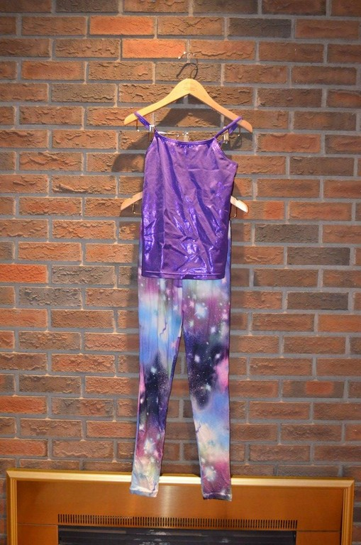 "For Rent Item 010. Purple tank top (x2) with ""space"" leggings. Hiphop/Jazz; size: Intermediate"