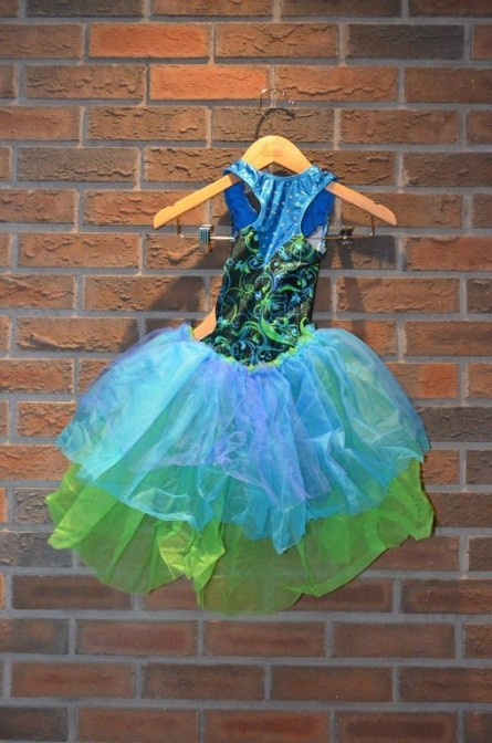 For Rent Item 016. Green and blue leotard with green, blue, and purple tutu that is open in the front, jazz or acro, size: junior. There are two of these costumes.