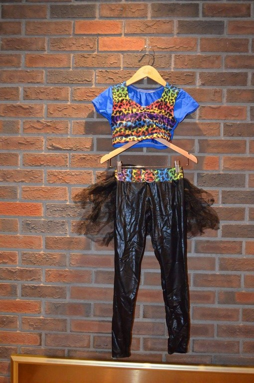 For Rent Item 023. Rainbow leotard top (blue back) and black leggings with black tulle and rainbow leopard belt accents, size: Junior.