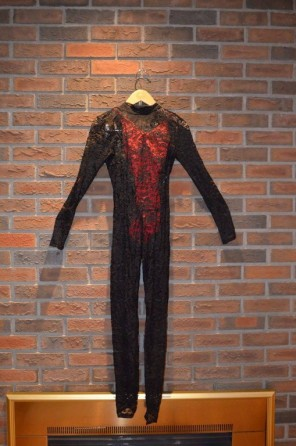 For Rent Item 031. Red bodysuit with black lace pantsuit; acro; size: intermediate.