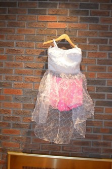 For Rent Item 032. White dress and pink shorts with white polka dots; size: senior.