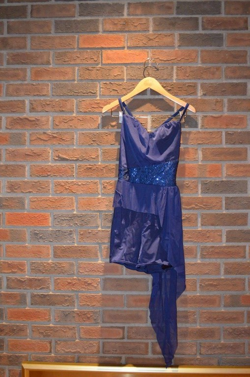 For Rent Item 033. Navy blue leotard shorts with sequin middle and sheer accent off hip, size: Intermediate. There are 2 of this costume