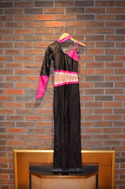 For Rent Item 034. Black and pink pantsuit with sheer middle and white triangles, size: senior.