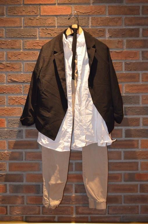 For Rent Item 036. Black blazer, white dress shirt, beige pants, black tie; hiphop; size: intermediate.