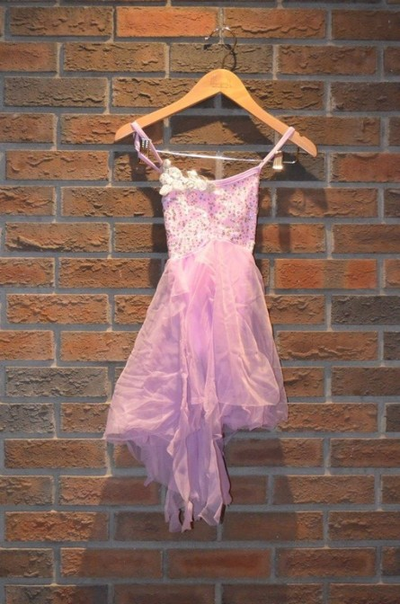 For Rent Item 037. Dress with pink and purple undertones. Sparkly on top; size: junior