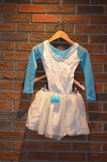 For Rent Item 041. White body suit with blue arms, white skirt with blue accent' size: junior.