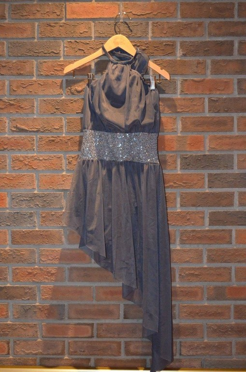 For Rent Item 042. Grey dress with silver sequin middle; lyrical/contemporary; size: senior.