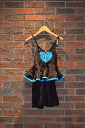 For Rent Item 043. Black leotard short set with blue trim skirt and blue heart on the chest.; size: intermediate/senior.