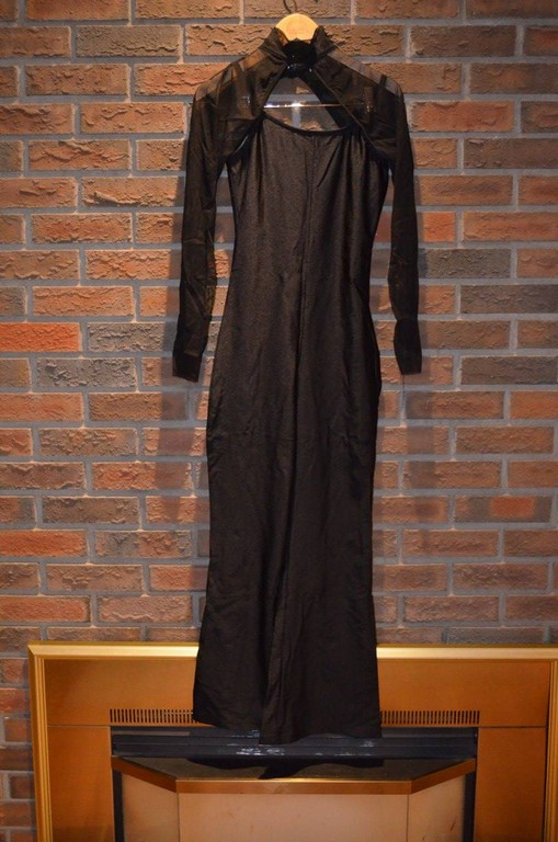 For Rent Item 046. Black pantsuit with sheer shrug (neck and arms); size: senior