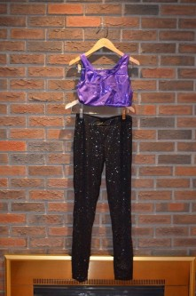 For Rent Item 047. Purple half top with black sparkly tuxedo pant; size: senior.