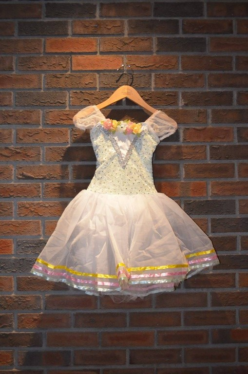 For Rent Item 048. White and light green top, white tutu with pink, yellow, and mint green accents; size: junior/intermediate. There are two of these costumes.