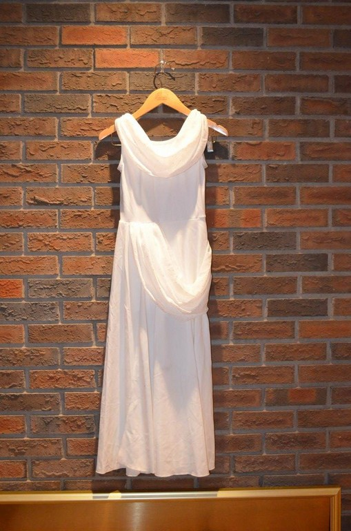 For Rent Item 050. White dress with scoop collar; size: intermediate.