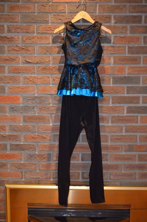 For Rent Item 051. Black lace top with bright blue underneath, black pant/legging; size: intermediate.