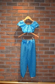 For Rent Item 052. Blue half top with blue genie pants, silver accents; size: Junior.