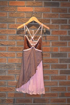 For Rent Item 055. Pink and brown dress; size: intermediate.