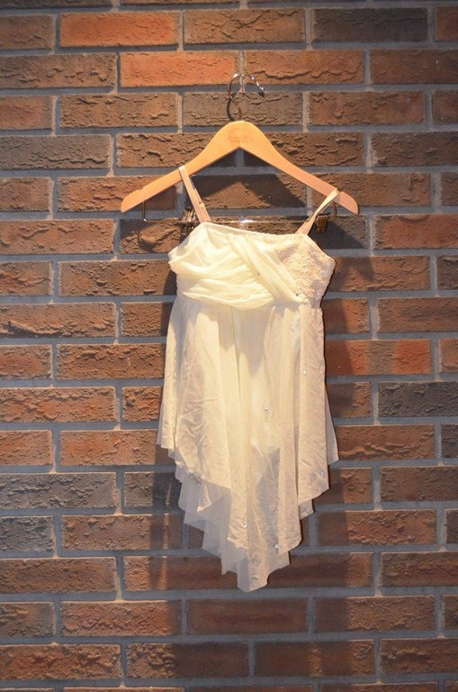 For Rent Item 056. Cream coloured dress; size: junior.
